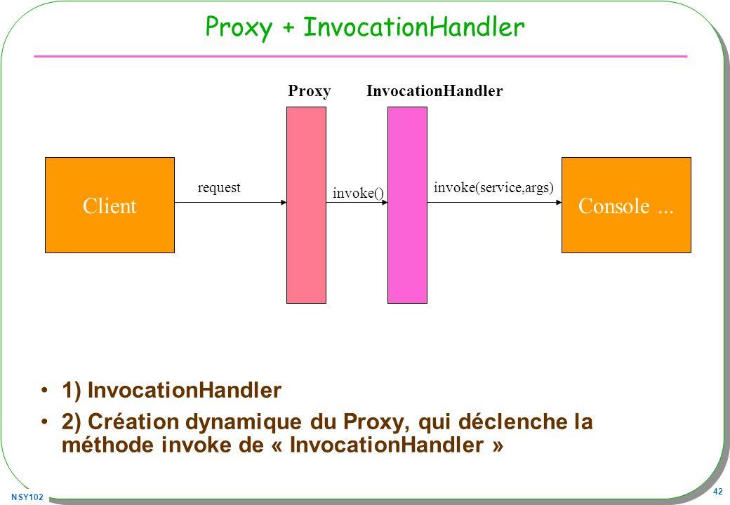 NSY102 42 Proxy + InvocationHandler 1) InvocationHandler 2) Création dynamique du Proxy, qui déclenche la méthode invoke de « InvocationHandler » Clie