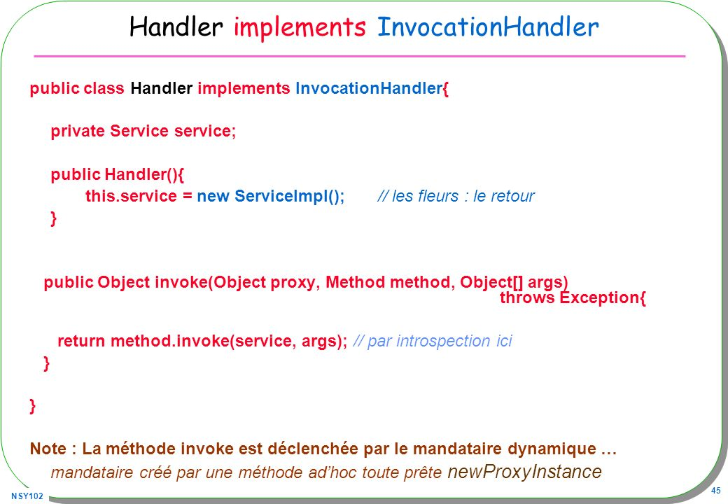 NSY102 45 Handler implements InvocationHandler public class Handler implements InvocationHandler{ private Service service; public Handler(){ this.serv