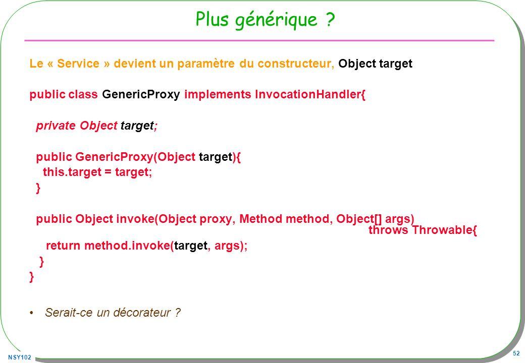 NSY102 52 Plus générique ? Le « Service » devient un paramètre du constructeur, Object target public class GenericProxy implements InvocationHandler{