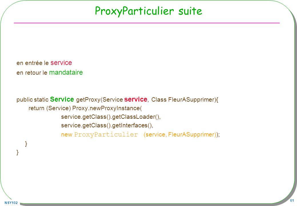 NSY102 61 ProxyParticulier suite en entrée le service en retour le mandataire public static Service getProxy(Service service, Class FleurASupprimer){