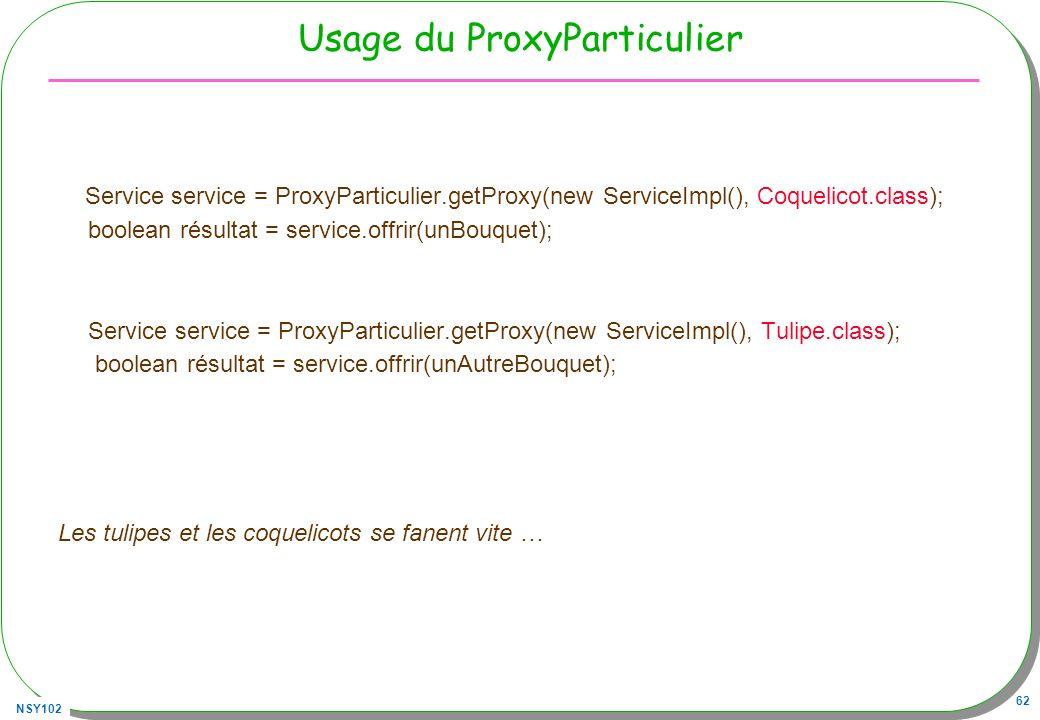 NSY102 62 Usage du ProxyParticulier Service service = ProxyParticulier.getProxy(new ServiceImpl(), Coquelicot.class); boolean résultat = service.offri