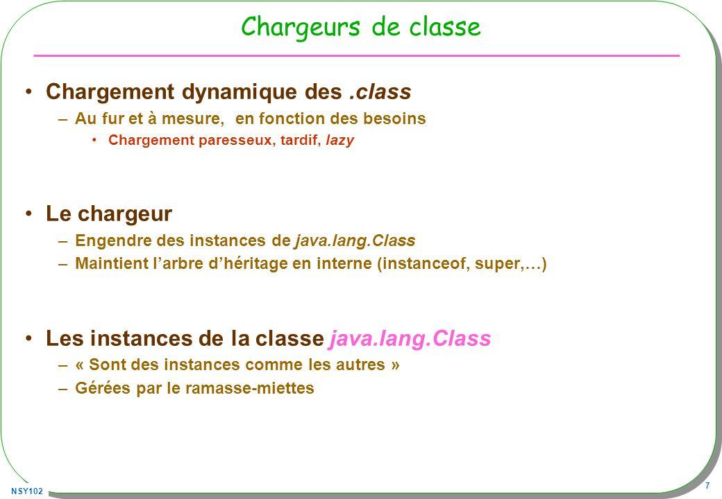 NSY102 8 Sommaire : Classes et java.lang.Class Le fichier.class –Une table des symboles et des instructions (bytecode) –Une décompilation est toujours possible … Du.class en.java … Il existe des « obfuscateurs » Le chargeur de.class –Les chargeurs de classes de.class en classe Class