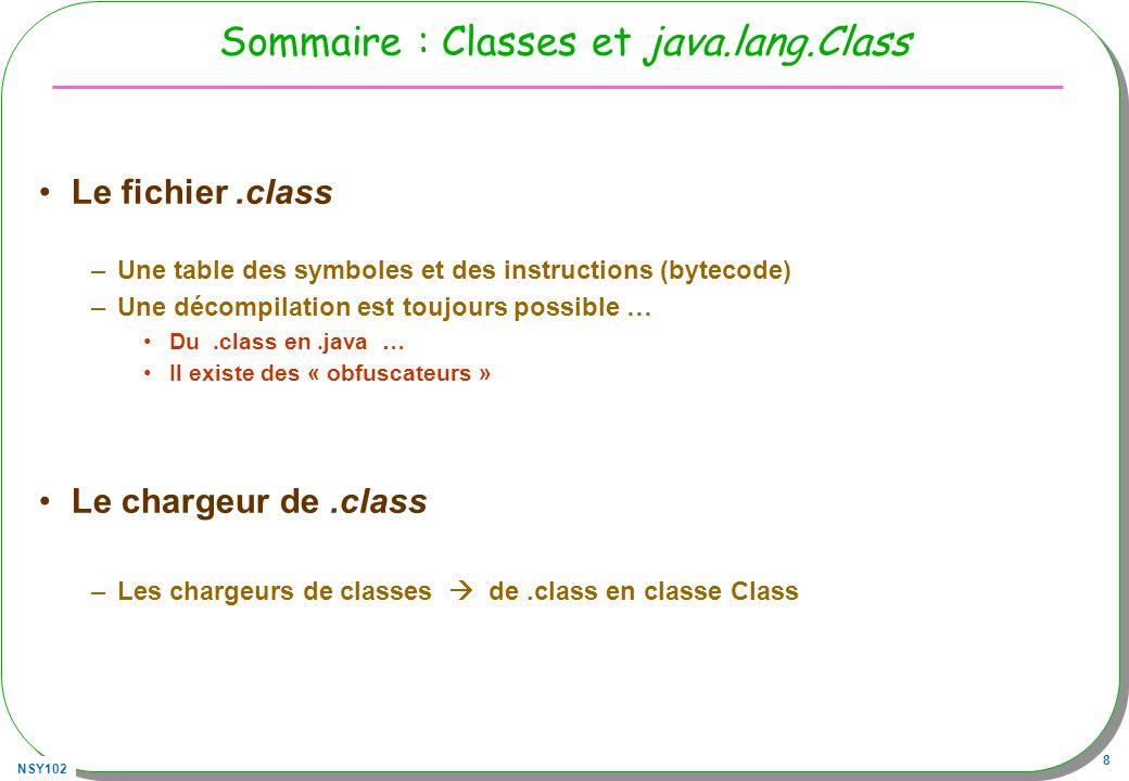 NSY102 8 Sommaire : Classes et java.lang.Class Le fichier.class –Une table des symboles et des instructions (bytecode) –Une décompilation est toujours
