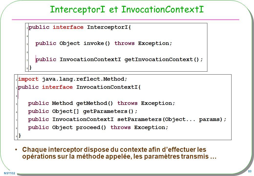 NSY102 80 InterceptorI et InvocationContextI Chaque interceptor dispose du contexte afin deffectuer les opérations sur la méthode appelée, les paramèt