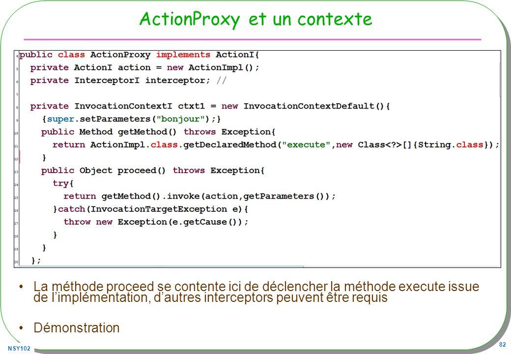 NSY102 82 ActionProxy et un contexte La méthode proceed se contente ici de déclencher la méthode execute issue de limplémentation, dautres interceptor