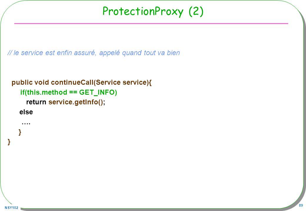 NSY102 89 ProtectionProxy (2) // le service est enfin assuré, appelé quand tout va bien public void continueCall(Service service){ if(this.method == G