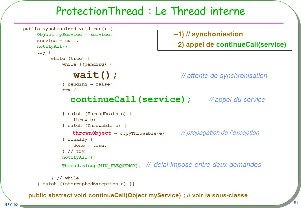 NSY102 91 ProtectionThread : Le Thread interne public synchronized void run() { Object myService = service; service = null; notifyAll(); try { while (