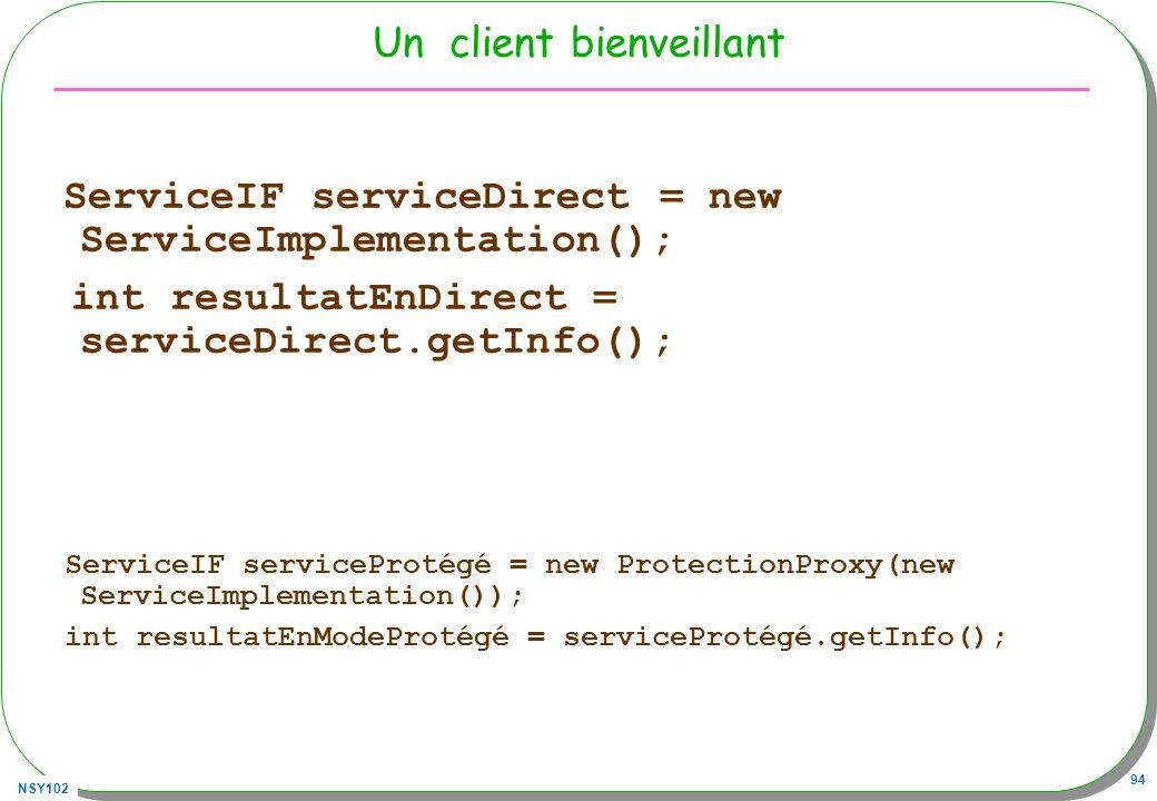 NSY102 94 Un client bienveillant ServiceIF serviceDirect = new ServiceImplementation(); int resultatEnDirect = serviceDirect.getInfo(); ServiceIF serv