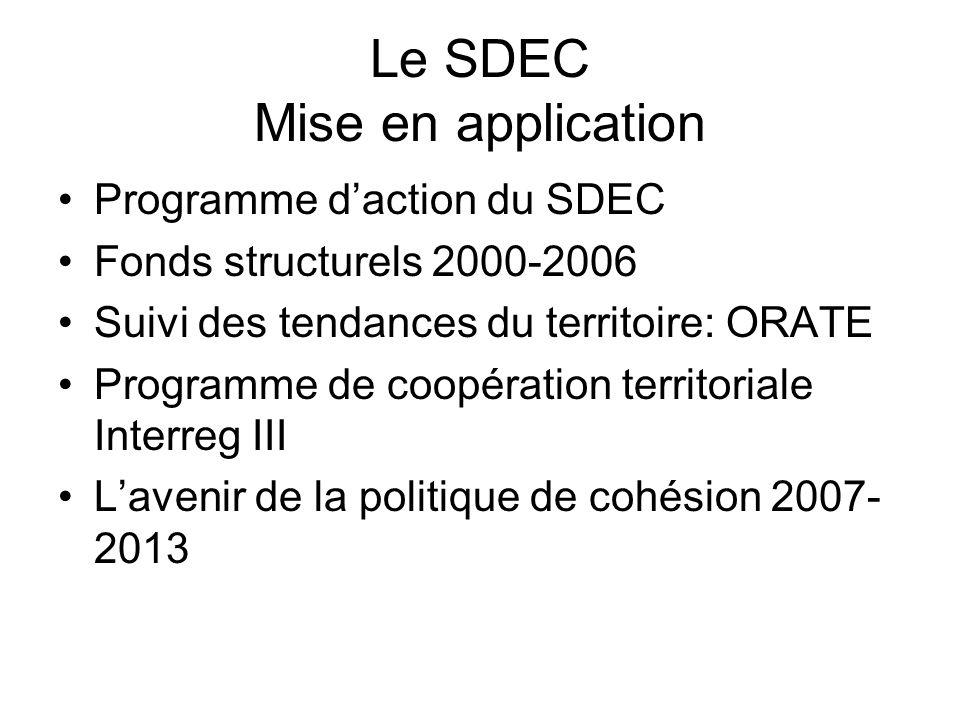 Le SDEC Mise en application Programme daction du SDEC Fonds structurels 2000-2006 Suivi des tendances du territoire: ORATE Programme de coopération territoriale Interreg III Lavenir de la politique de cohésion 2007- 2013