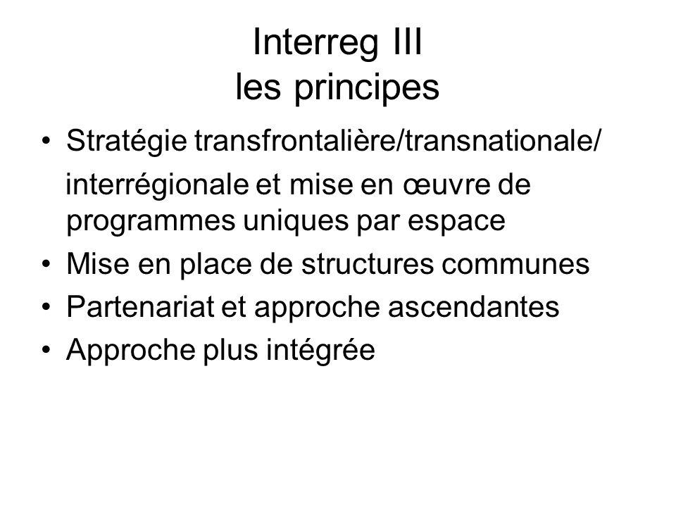 Interreg III les principes Stratégie transfrontalière/transnationale/ interrégionale et mise en œuvre de programmes uniques par espace Mise en place de structures communes Partenariat et approche ascendantes Approche plus intégrée