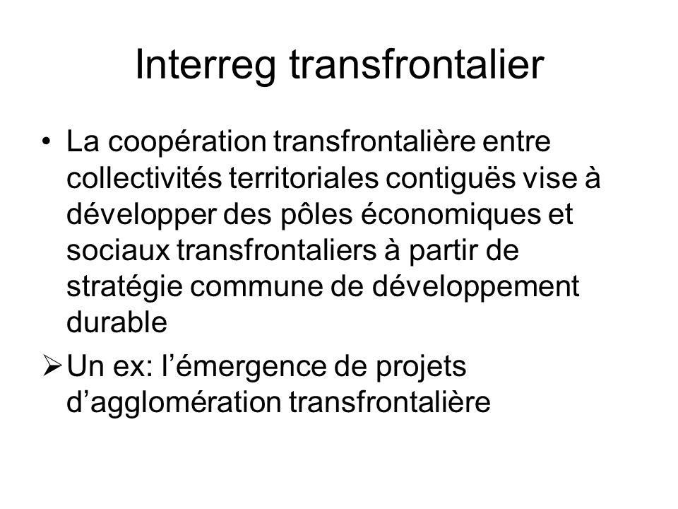 Interreg transfrontalier La coopération transfrontalière entre collectivités territoriales contiguës vise à développer des pôles économiques et sociaux transfrontaliers à partir de stratégie commune de développement durable Un ex: lémergence de projets dagglomération transfrontalière