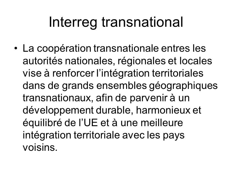 Interreg transnational La coopération transnationale entres les autorités nationales, régionales et locales vise à renforcer lintégration territoriales dans de grands ensembles géographiques transnationaux, afin de parvenir à un développement durable, harmonieux et équilibré de lUE et à une meilleure intégration territoriale avec les pays voisins.
