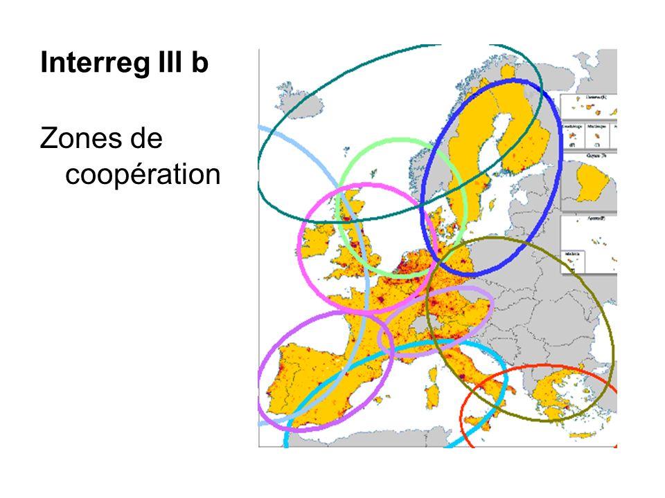 Interreg III b Zones de coopération
