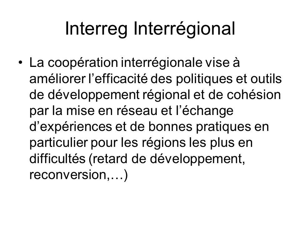 Interreg Interrégional La coopération interrégionale vise à améliorer lefficacité des politiques et outils de développement régional et de cohésion par la mise en réseau et léchange dexpériences et de bonnes pratiques en particulier pour les régions les plus en difficultés (retard de développement, reconversion,…)