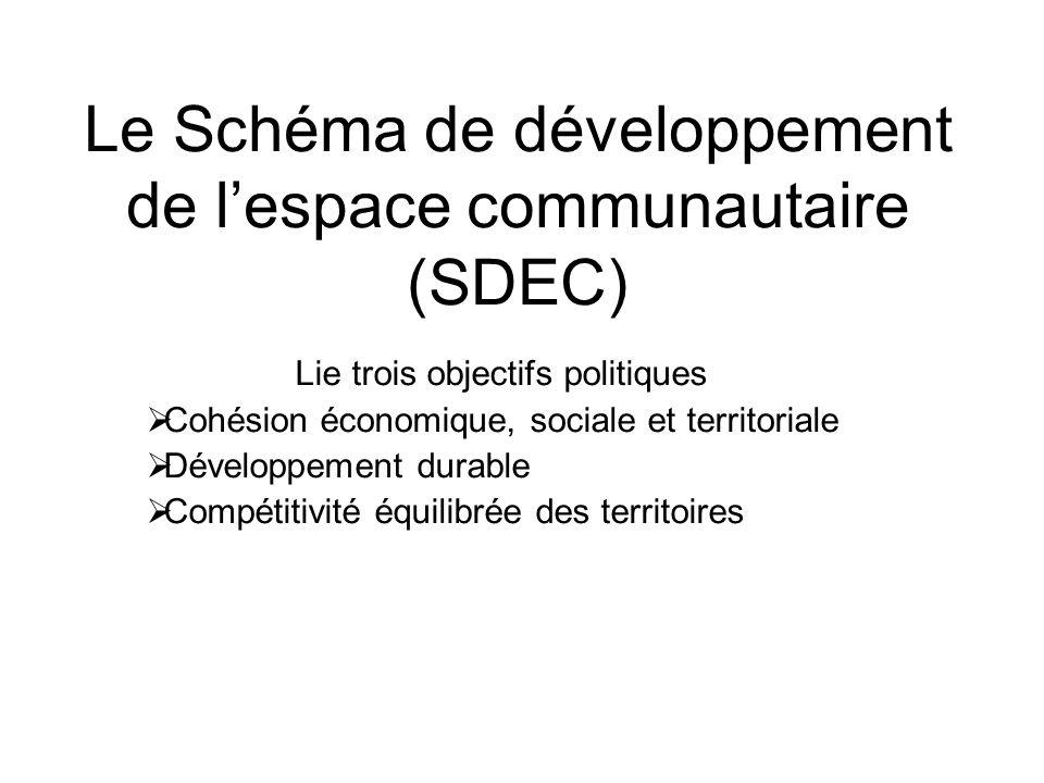 Le Schéma de développement de lespace communautaire (SDEC) Lie trois objectifs politiques Cohésion économique, sociale et territoriale Développement durable Compétitivité équilibrée des territoires