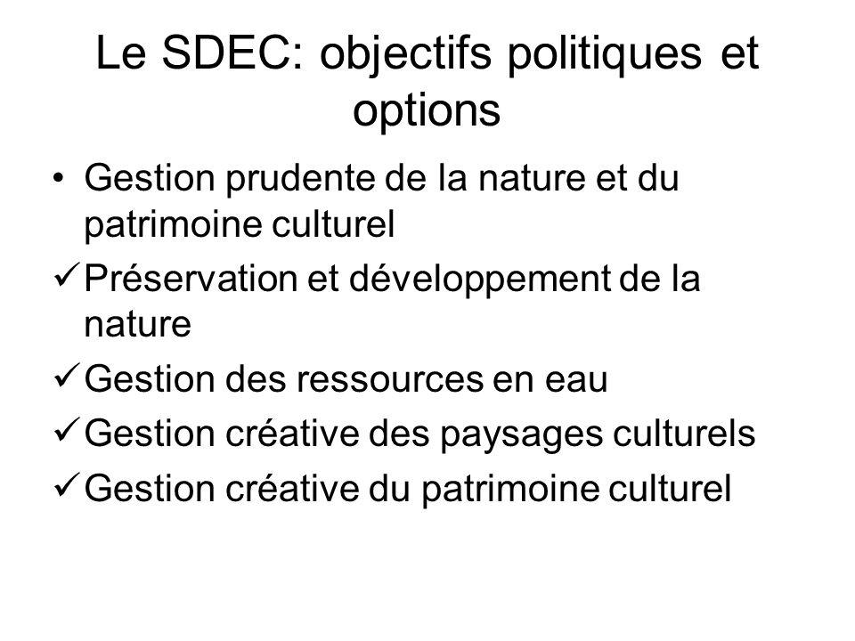 Le SDEC: objectifs politiques et options Gestion prudente de la nature et du patrimoine culturel Préservation et développement de la nature Gestion des ressources en eau Gestion créative des paysages culturels Gestion créative du patrimoine culturel