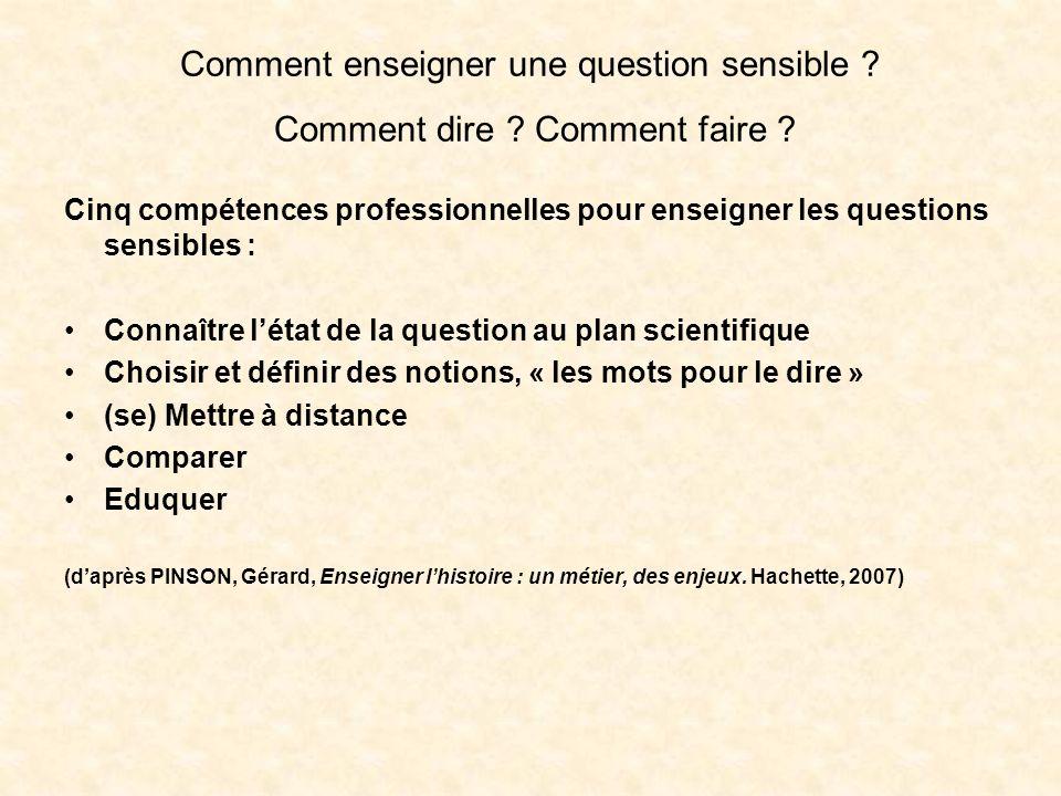 Comment enseigner une question sensible ? Comment dire ? Comment faire ? Cinq compétences professionnelles pour enseigner les questions sensibles : Co
