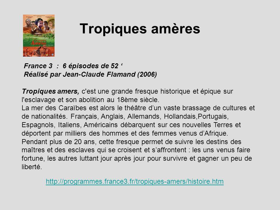 Tropiques amères http://programmes.france3.fr/tropiques-amers/histoire.htm France 3 : 6 épisodes de 52 Réalisé par Jean-Claude Flamand (2006) Tropique