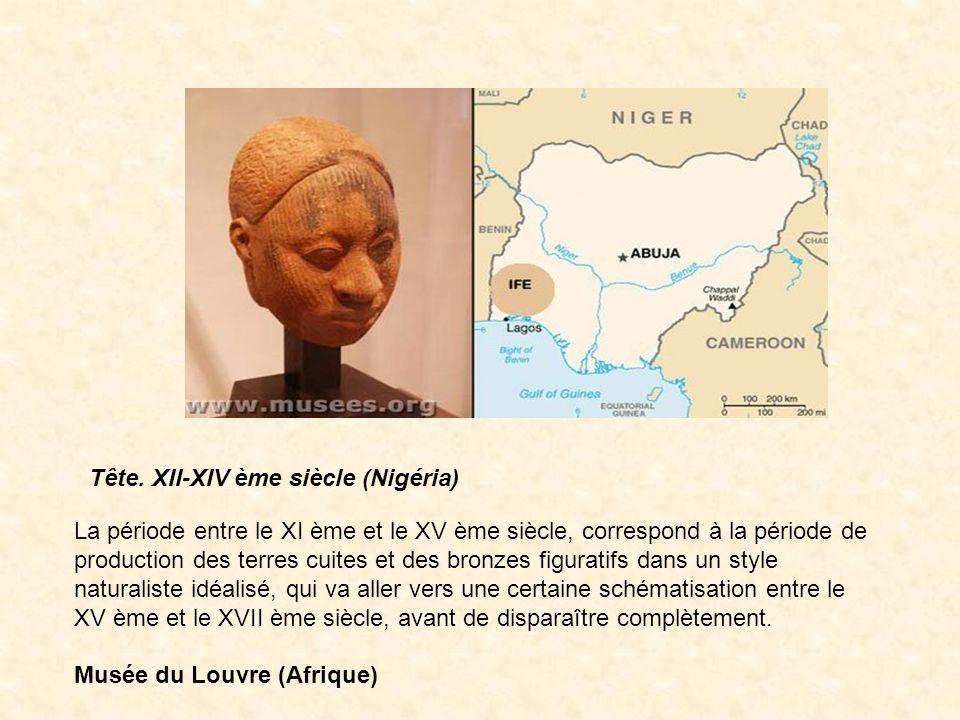 Tête. XII-XIV ème siècle (Nigéria) La période entre le XI ème et le XV ème siècle, correspond à la période de production des terres cuites et des bron