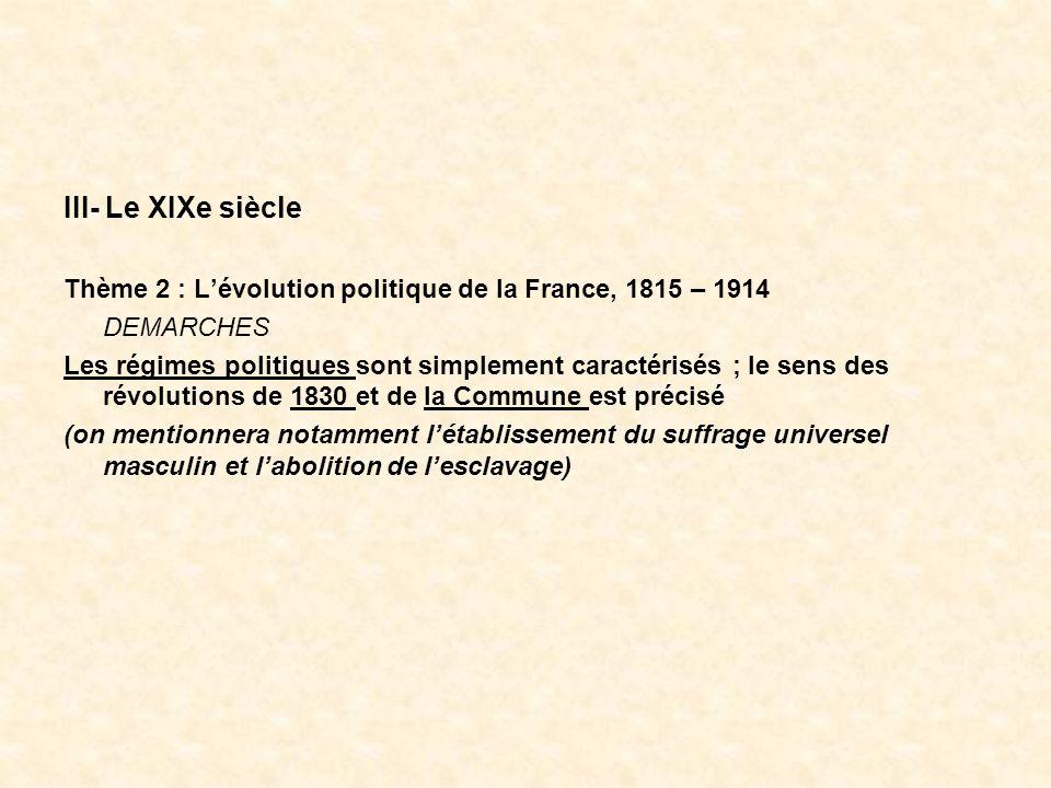 III- Le XIXe siècle Thème 2 : Lévolution politique de la France, 1815 – 1914 DEMARCHES Les régimes politiques sont simplement caractérisés ; le sens d