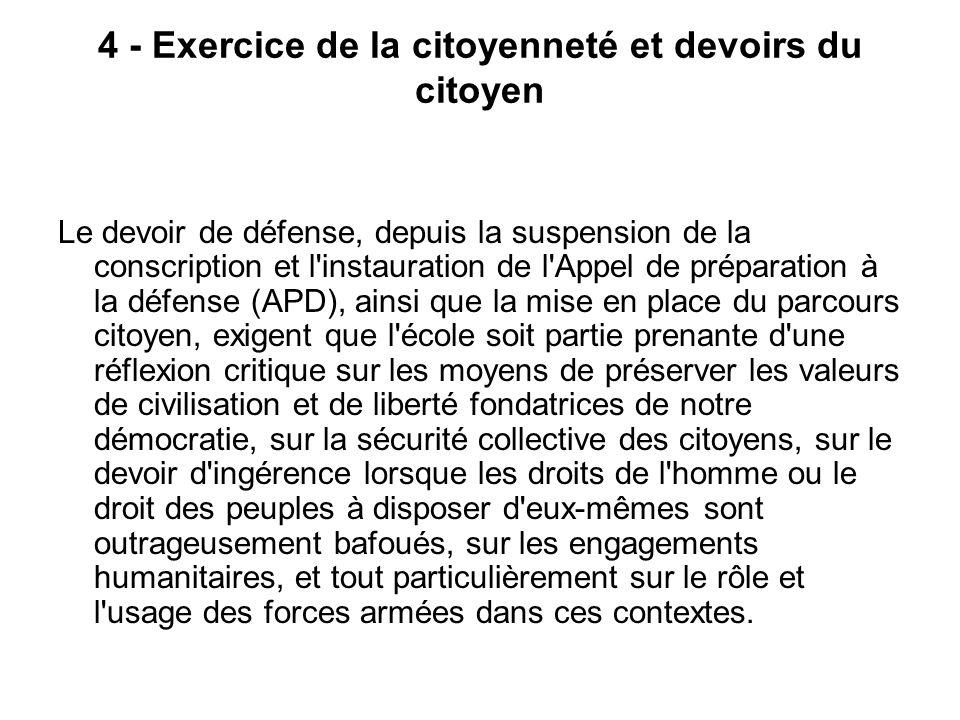 4 - Exercice de la citoyenneté et devoirs du citoyen Le devoir de défense, depuis la suspension de la conscription et l'instauration de l'Appel de pré