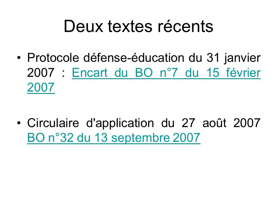 Deux textes récents Protocole défense-éducation du 31 janvier 2007 : Encart du BO n°7 du 15 février 2007Encart du BO n°7 du 15 février 2007 Circulaire