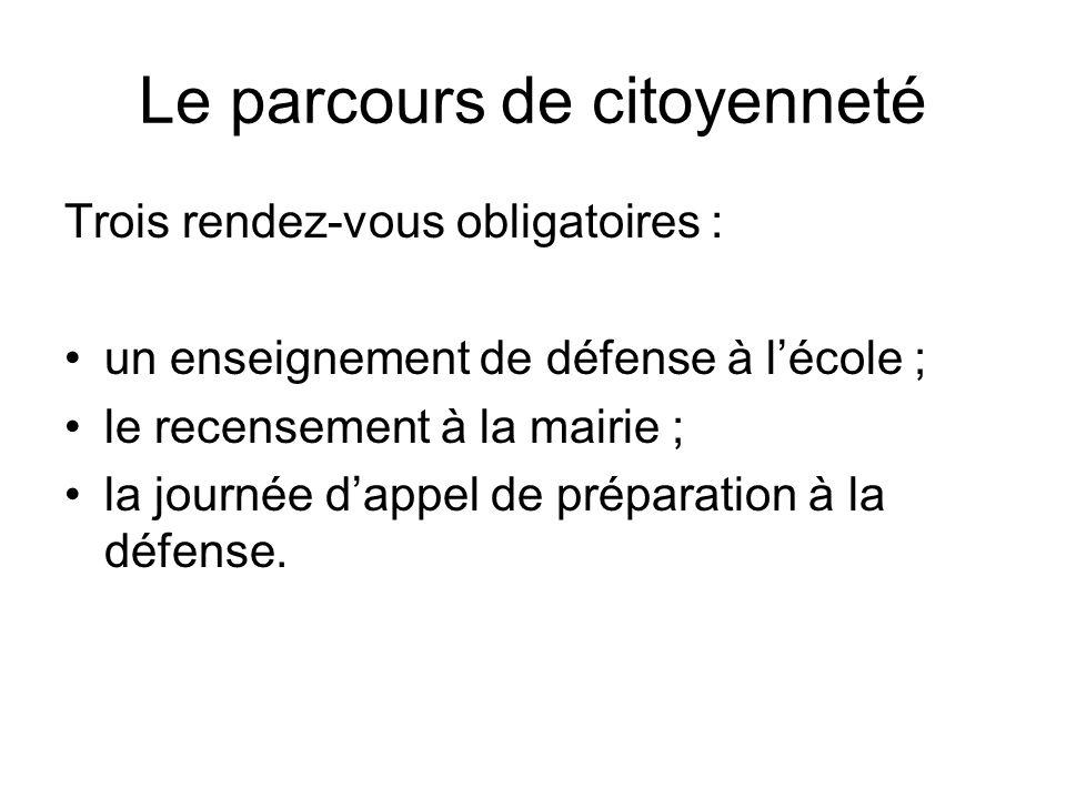 Le parcours de citoyenneté Trois rendez-vous obligatoires : un enseignement de défense à lécole ; le recensement à la mairie ; la journée dappel de pr