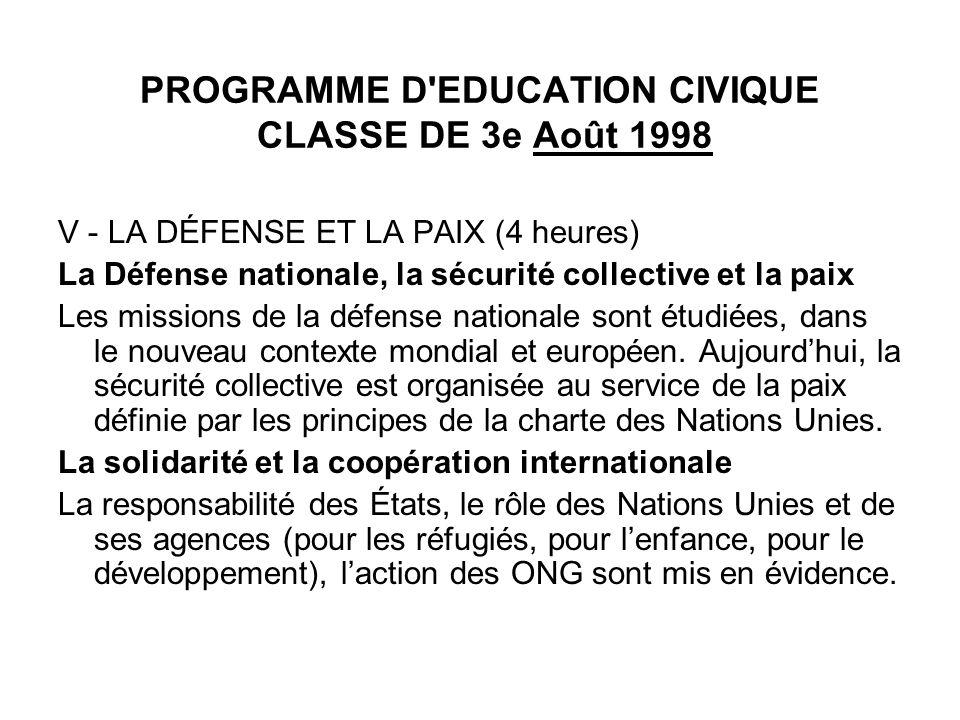 PROGRAMME D'EDUCATION CIVIQUE CLASSE DE 3e Août 1998 V - LA DÉFENSE ET LA PAIX (4 heures) La Défense nationale, la sécurité collective et la paix Les