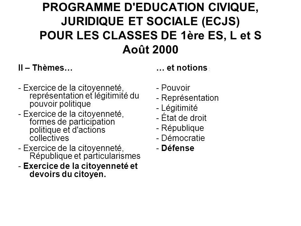 PROGRAMME D'EDUCATION CIVIQUE, JURIDIQUE ET SOCIALE (ECJS) POUR LES CLASSES DE 1ère ES, L et S Août 2000 II – Thèmes… - Exercice de la citoyenneté, re