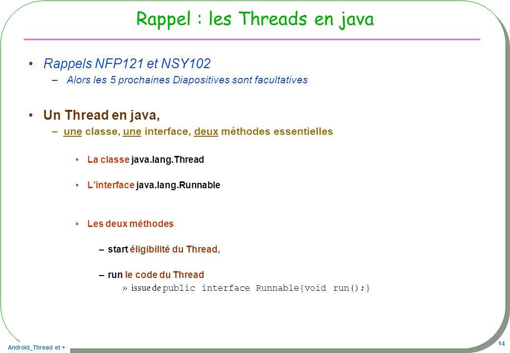 Android_Thread et + 14 Rappel : les Threads en java Rappels NFP121 et NSY102 – Alors les 5 prochaines Diapositives sont facultatives Un Thread en java