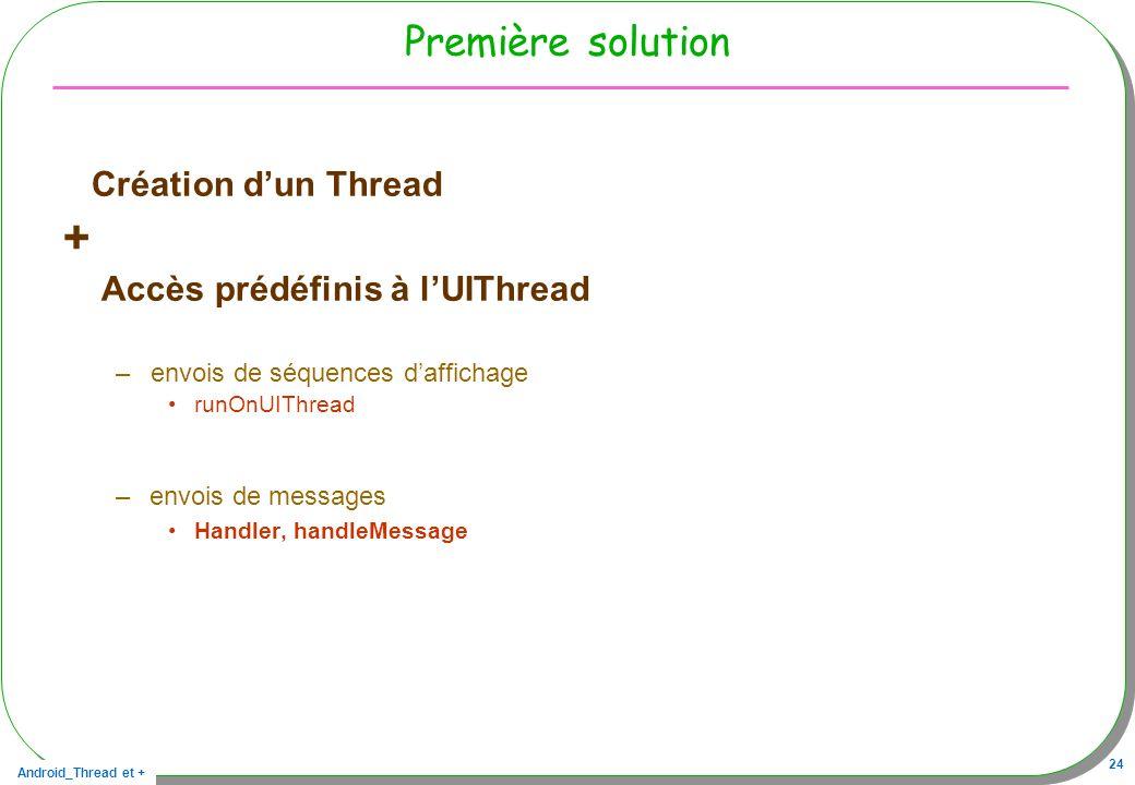 Android_Thread et + 24 Première solution Création dun Thread + Accès prédéfinis à lUIThread –envois de séquences daffichage runOnUIThread – envois de