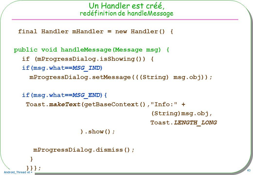 Android_Thread et + 43 Un Handler est créé, redéfinition de handleMessage final Handler mHandler = new Handler() { public void handleMessage(Message m