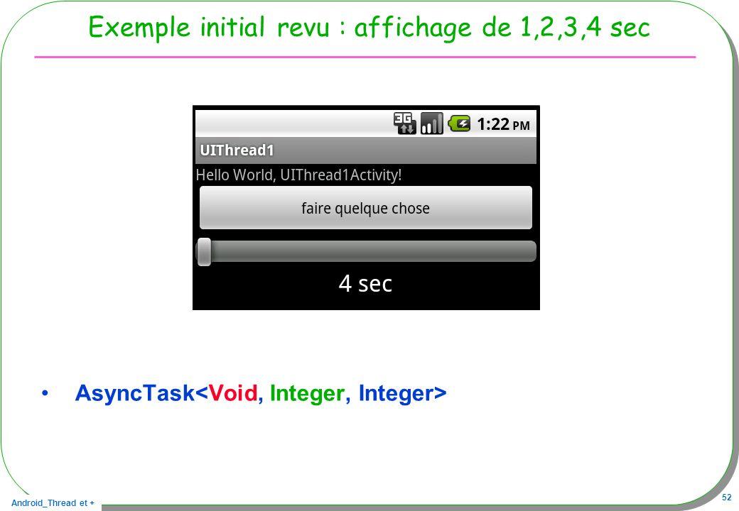 Android_Thread et + 52 Exemple initial revu : affichage de 1,2,3,4 sec AsyncTask