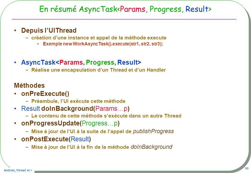 Android_Thread et + 60 En résumé AsyncTask Depuis lUIThread –création dune instance et appel de la méthode execute Exemple new WorkAsyncTask().execute