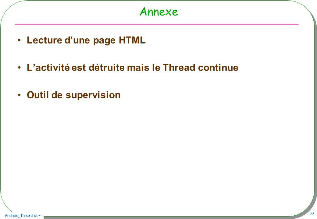 Android_Thread et + 63 Annexe Lecture dune page HTML Lactivité est détruite mais le Thread continue Outil de supervision