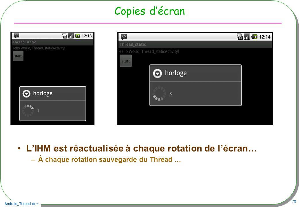 Android_Thread et + 78 Copies décran LIHM est réactualisée à chaque rotation de lécran… –À chaque rotation sauvegarde du Thread …