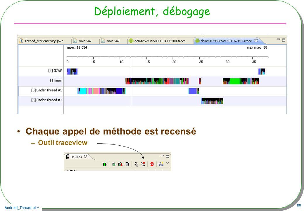 Android_Thread et + 80 Déploiement, débogage Chaque appel de méthode est recensé –Outil traceview