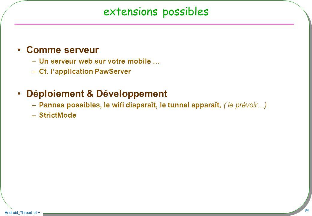 Android_Thread et + 84 extensions possibles Comme serveur –Un serveur web sur votre mobile … –Cf. lapplication PawServer Déploiement & Développement –