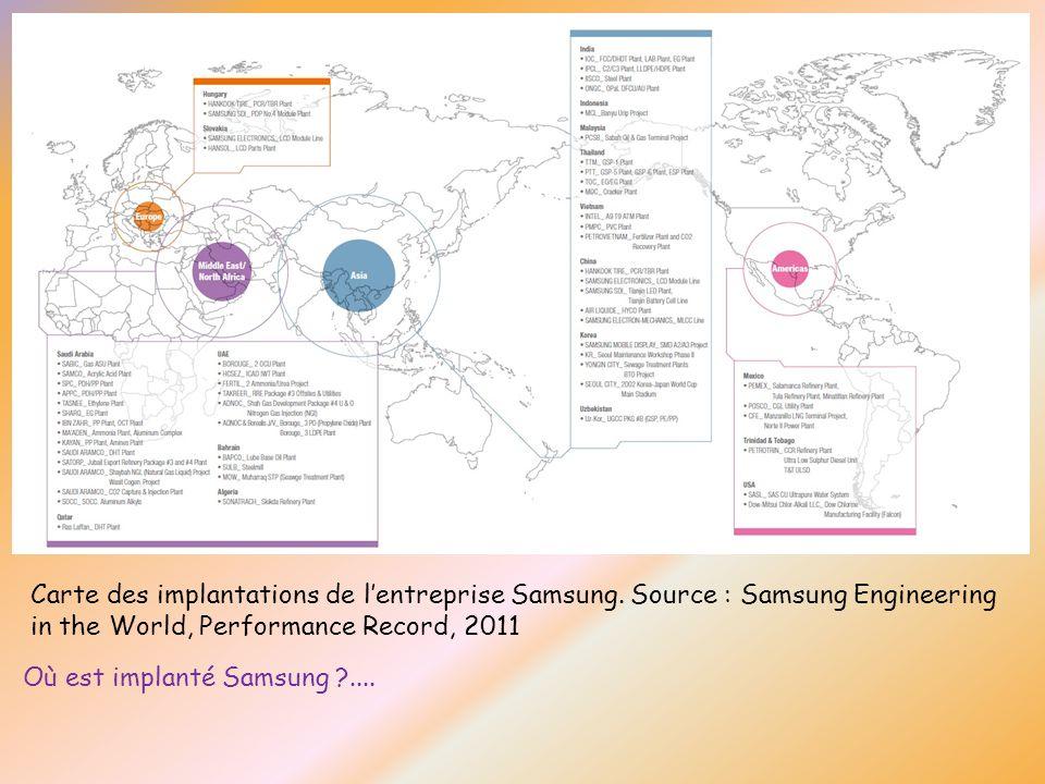Carte des implantations de lentreprise Samsung. Source : Samsung Engineering in the World, Performance Record, 2011 Où est implanté Samsung ?....