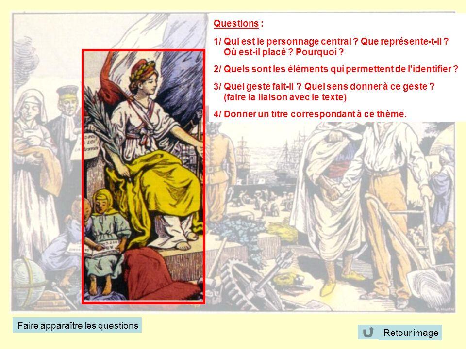 Questions : 1/ Qui est le personnage central ? Que représente-t-il ? Où est-il placé ? Pourquoi ? 2/ Quels sont les éléments qui permettent de l'ident