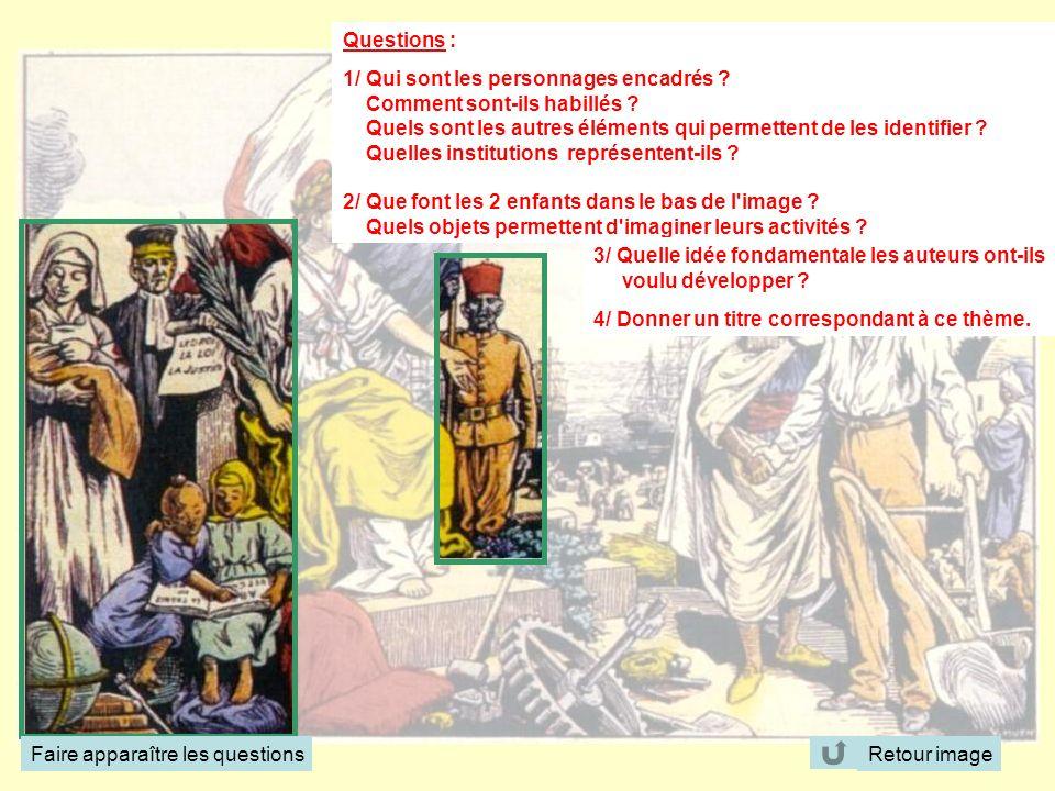 Questions : 1/ Qui sont les personnages encadrés ? Comment sont-ils habillés ? Quels sont les autres éléments qui permettent de les identifier ? Quell