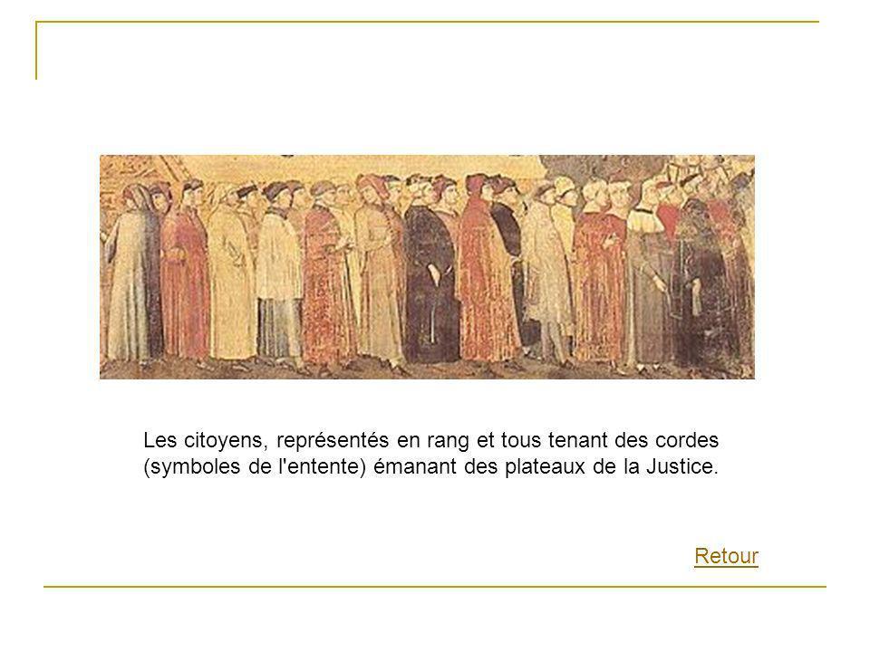 Les citoyens, représentés en rang et tous tenant des cordes (symboles de l'entente) émanant des plateaux de la Justice. Retour