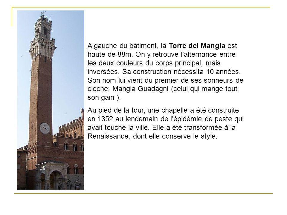 A gauche du bâtiment, la Torre del Mangia est haute de 88m. On y retrouve lalternance entre les deux couleurs du corps principal, mais inversées. Sa c