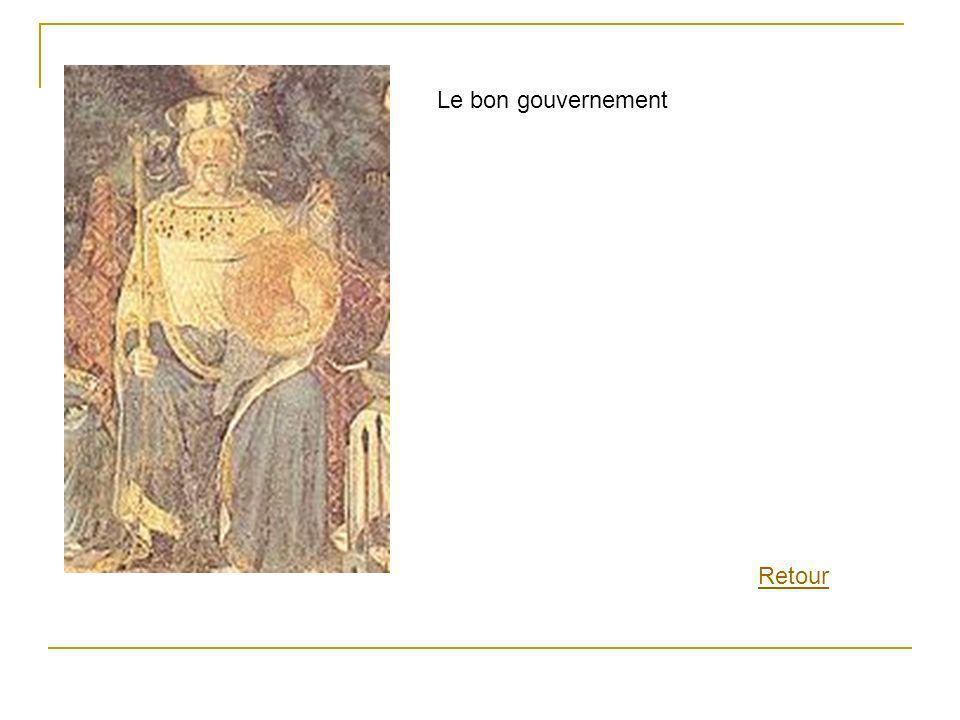 Les vertus cardinales: Tempérance, Justice, Force et Prudence, en compagnie de la Magnanimité et de la Paix.