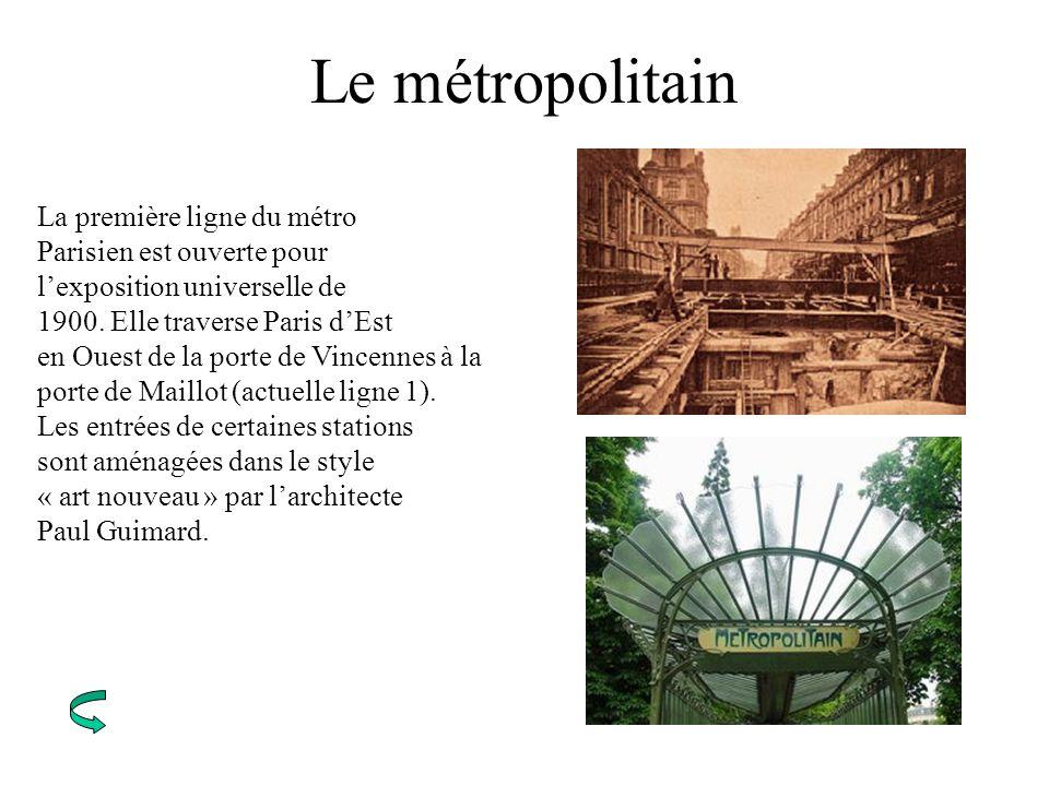 Le métropolitain La première ligne du métro Parisien est ouverte pour lexposition universelle de 1900. Elle traverse Paris dEst en Ouest de la porte d