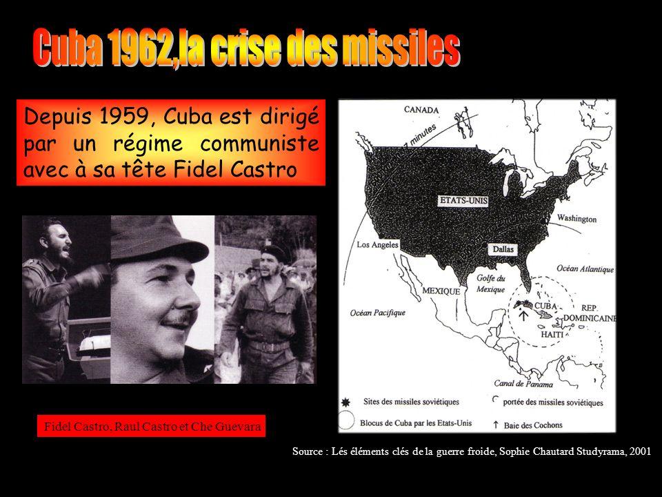 Depuis 1959, Cuba est dirigé par un régime communiste avec à sa tête Fidel Castro Fidel Castro, Raul Castro et Che Guevara Source : Lés éléments clés de la guerre froide, Sophie Chautard Studyrama, 2001
