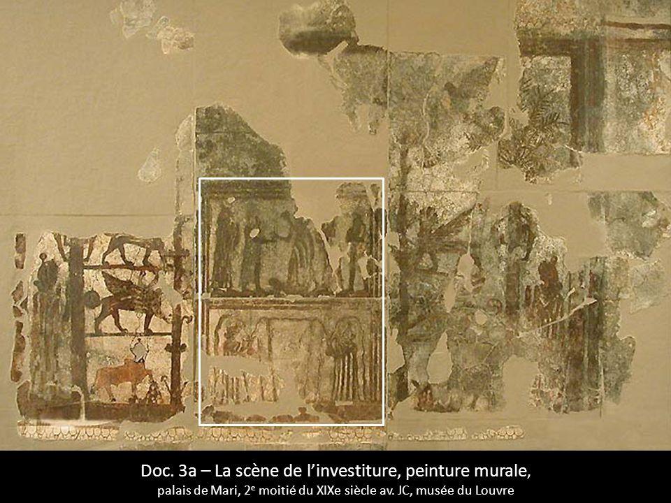 Doc. 3a – La scène de linvestiture, peinture murale, palais de Mari, 2 e moitié du XIXe siècle av. JC, musée du Louvre