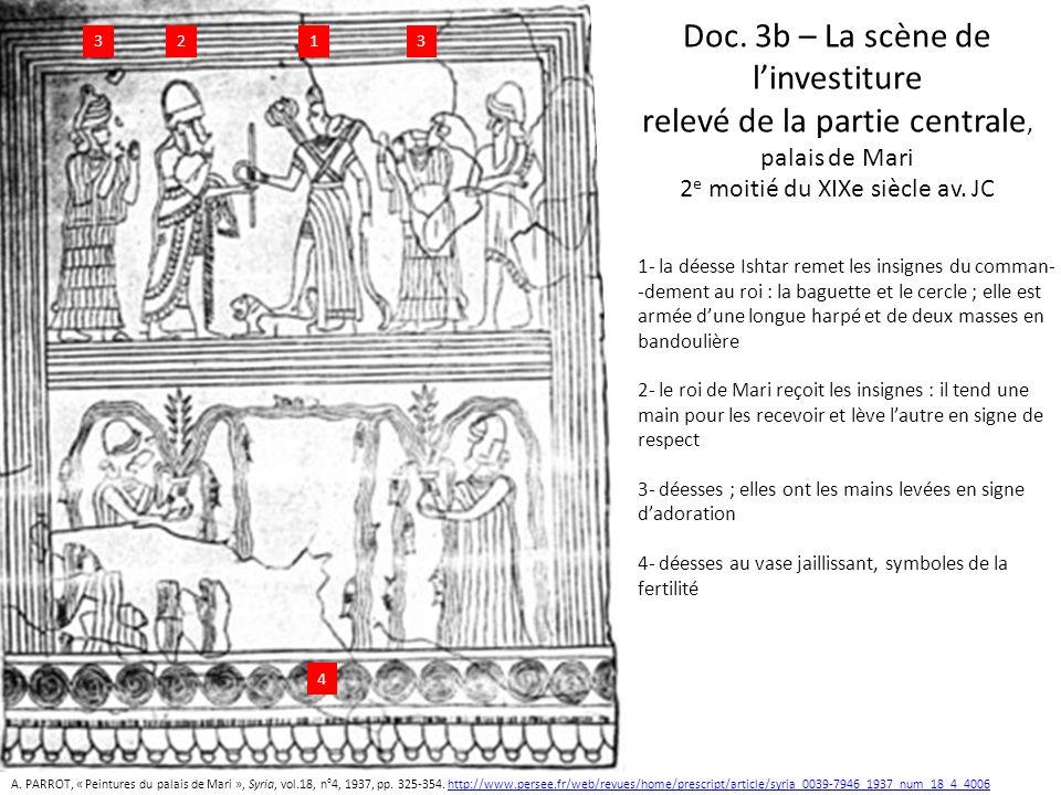 Doc. 3b – La scène de linvestiture relevé de la partie centrale, palais de Mari 2 e moitié du XIXe siècle av. JC 1 1- la déesse Ishtar remet les insig