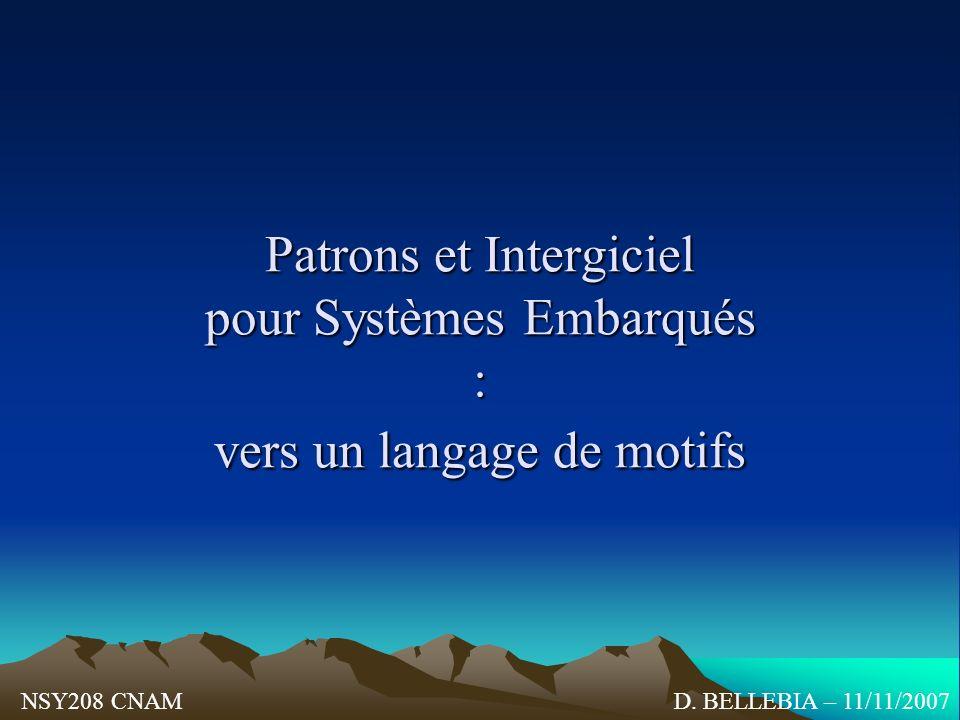 Patrons et Intergiciel pour Systèmes Embarqués : vers un langage de motifs D. BELLEBIA – 11/11/2007NSY208 CNAM