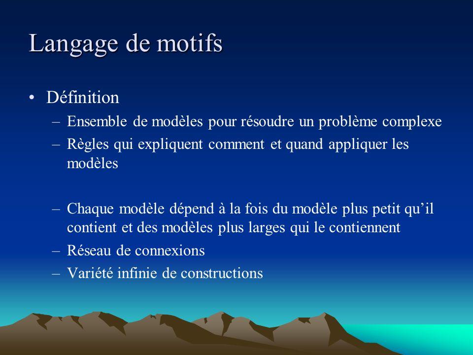 Langage de motifs Définition –Ensemble de modèles pour résoudre un problème complexe –Règles qui expliquent comment et quand appliquer les modèles –Ch